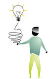 Business man cartoon. With bulb connected to the hand Stock Image