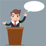 Business man cartoon. Cartoon businessman giving presentation at a podium, Presentation and performance before an audience. Rhetoric. Oratory, lecturer, business Stock Photo
