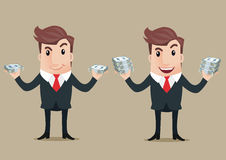 Business man cartoon. Businessman holds in hand dollar banknotes Royalty Free Stock Image