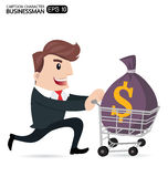 Business man cartoon. Businessman With the money bag and Shopping Carting, Business Concept Royalty Free Stock Image