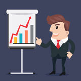 Business man cartoon. Businessman pointing at presentation board .- vector illustration Royalty Free Stock Photos