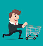 Business man cartoon. Businessman pushing shopping cart.- vector illustrator Royalty Free Stock Photography