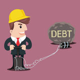 Business man cartoon. Businessman put a bomb to explode the heavy DEBT.-vector illustration Royalty Free Stock Photo