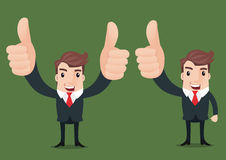 Business man cartoon. Businessman show hand with thumb up.- vector illustrator Stock Images