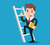Business man cartoon. A Businessman stepping up a stairway, success concept.-vector illustration Stock Photo