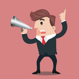 Business man cartoon. Businessman is using a megaphone.- vector illustrator Royalty Free Stock Photography