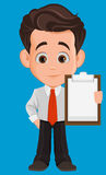 Business man cartoon character. Cute young businessman in office clothes holding blank clipboard. stock illustration