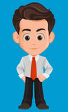 Business man cartoon character. Cute young businessman in office clothes standing with confident look. Stock Image