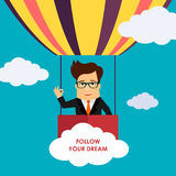 Business man cartoon character flying on hot air balloon vector illustration Stock Image