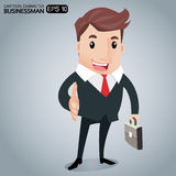 Business man cartoon. Business deal.Business people shaking hands or Achiving agreement.-Vector illustration Royalty Free Stock Photography
