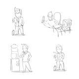 Business Man Cartoon Hand Draw Sketch Set Royalty Free Stock Image