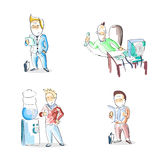 Business Man Cartoon Hand Draw Sketch Set Royalty Free Stock Images