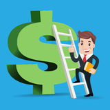 Business man cartoon. Happy super rich successful businessman up the stairs to the green big dollar shaped Royalty Free Stock Image
