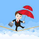 Business man cartoon holding umbrella and walking on the robe th. E risk of business concept vector illustration eps10 stock illustration