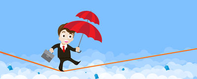 Business man cartoon holding umbrella and walking on the robe th. E risk of business concept vector illustration eps10 royalty free illustration