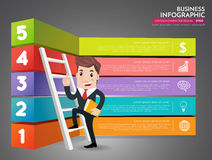 Business man cartoon. Infographics business stair step success ,Business Man stepping up a staircase to success vector design template Royalty Free Stock Photography