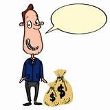 Business man cartoon and money and speaking Royalty Free Stock Image
