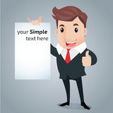 Business man cartoon. Business Man presentation,holding whiteboard Stock Image