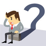 Business man cartoon. Business man scratches his head in indecision on a question mark.- vector illustrator Royalty Free Stock Photo