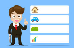 Business man cartoon smile showing the finger with banner. Illustration eps10 Royalty Free Stock Image