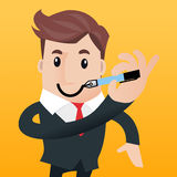 Business man cartoon. Business man writing Smiley on the the face Stock Photography