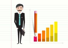 Business Man with Case and Success Graph. On Notebook Paper Vector Illustration Stock Illustration