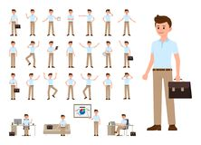 Business man in casual office look cartoon character set. Vector illustration of office person in different poses. Business man in casual office look cartoon stock illustration