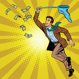 Business man catching money with a butterfly net Stock Photography