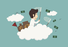 Business man catching money Royalty Free Stock Image
