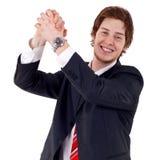 Business man celebrating royalty free stock photos