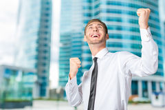 Business man celebrating with arms up Royalty Free Stock Photography