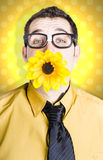 Business man celebrating summer with sun flower Royalty Free Stock Images
