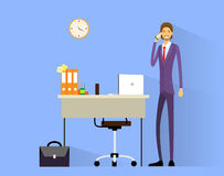 Business man cell phone call at desk in office. Working flat vector illustration Stock Photography