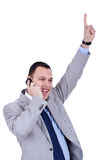 Business man with cellular phone winning Royalty Free Stock Photos