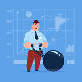 Business Man Chain Bound Hands Credit Debt Finance Crisis Concept. Flat Vector Illustration Stock Image