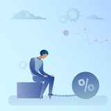 Business Man Chain Bound Legs Credit Debt Finance Crisis Concept. Flat Vector Illustration Stock Photo
