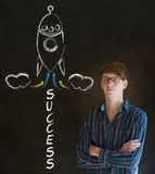 Business man and chalk success rocket Stock Image