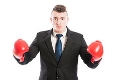 Business man challenging competitors Stock Image
