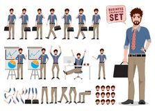 Business man character creation vector set standing and holding briefcase stock illustration