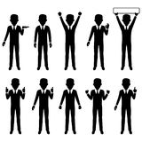Business man character silhouette set, , vector illustration Royalty Free Stock Photos