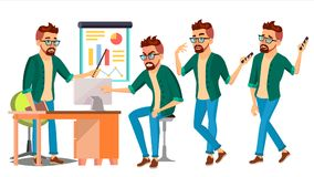 Business Man Character Vector. Hipster Working Male. Environment Process. Start Up. Casual Clothes. Worker. Full Length. Business Man Character Vector. Hipster royalty free illustration