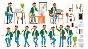 Business Man Character Vector. Hipster Working People Set. Office, Creative Studio. Worker. Full Length. Programmer. Business Man Character Vector. Hipster vector illustration
