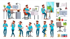 Business Man Character Vector. Working People Set. Office, Creative Studio. Bearded. Full Length. Programmer, Designer. Manager. Different Poses Face Emotions stock illustration