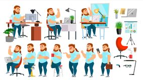 Business Man Character Vector. Working People Set. Office, Creative Studio. Fat, Bearded. Business Situation. Programmer Royalty Free Illustration