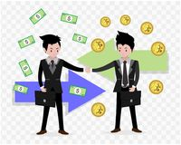 Business man characters.business concept growth, effort and going beyond,cool background Vector illustration.Cartoon style. Business man characters.business Royalty Free Stock Image