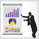 Business man with chart. Business man pointing at color chart on wall vector illustration