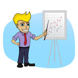 Business man with a chart - isolated cartoon illustration Royalty Free Stock Images