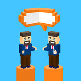Business Man Chat Communication Bubble Concept. Businesspeople Talking Discussing 3d Isometric Design Vector Illustration Stock Photo
