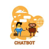Business Man Chatting With Chatbot Icon Chatter Bot Robot Support Modern Technology Concept. Vector Illustration Stock Images