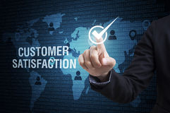 Business man check customer satisfaction. concept of quality. Business man check customer satisfaction. concept of quality, efficiency, service and reliability Stock Photography